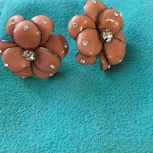 Jewelry - Vintage-y pink flower and rhinestone earrings NWOT